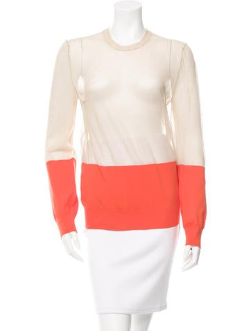 Céline Sheer-Paneled Two-Tone Sweater None