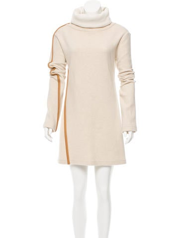 Leather-Trimmed Turtleneck Dress w/ Tags
