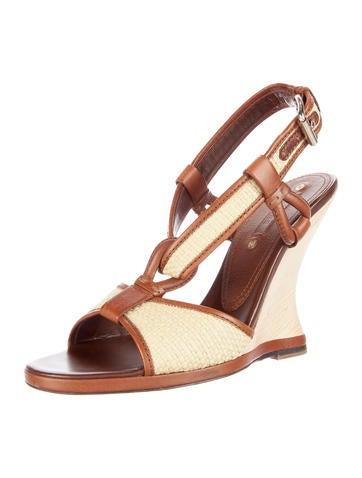 Straw Wedge Sandals