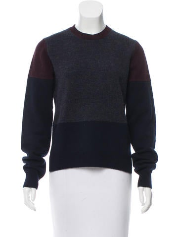 Céline Long Sleeve Rib Knit-Trimmed Sweater None