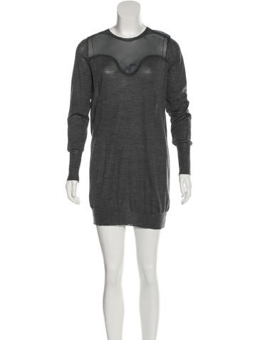 Céline Wool Silk-Accented Dress None