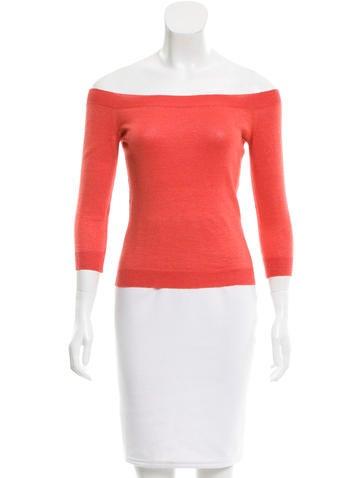 Céline Linen Off-The-Shoulder Sweater None