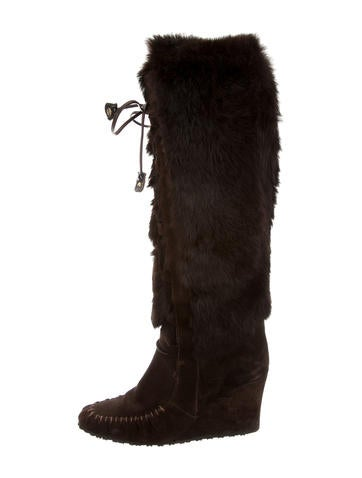 c 233 line fur trimmed wedge boots shoes cel42649 the