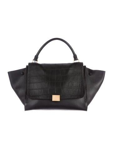 Céline Medium Croc Stamped Trapeze Bag