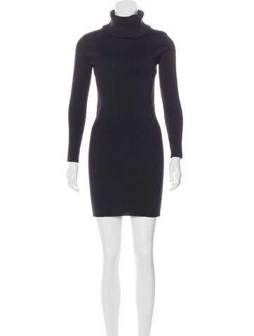 Céline Rib Knit Turtleneck Dress None
