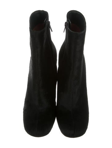 Round-Toe Ponyhair Ankle Boots