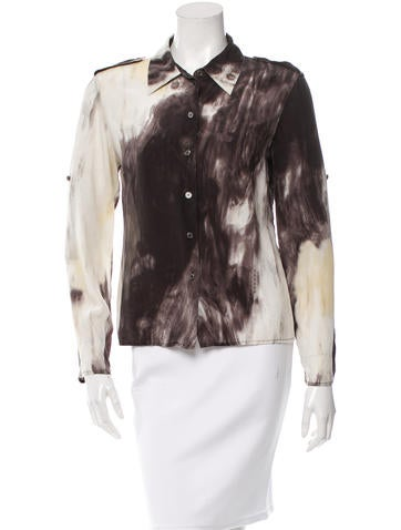 Céline Silk Button-Up Top None