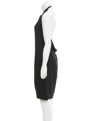 Leather-Trimmed Halter Dress w/ Tags
