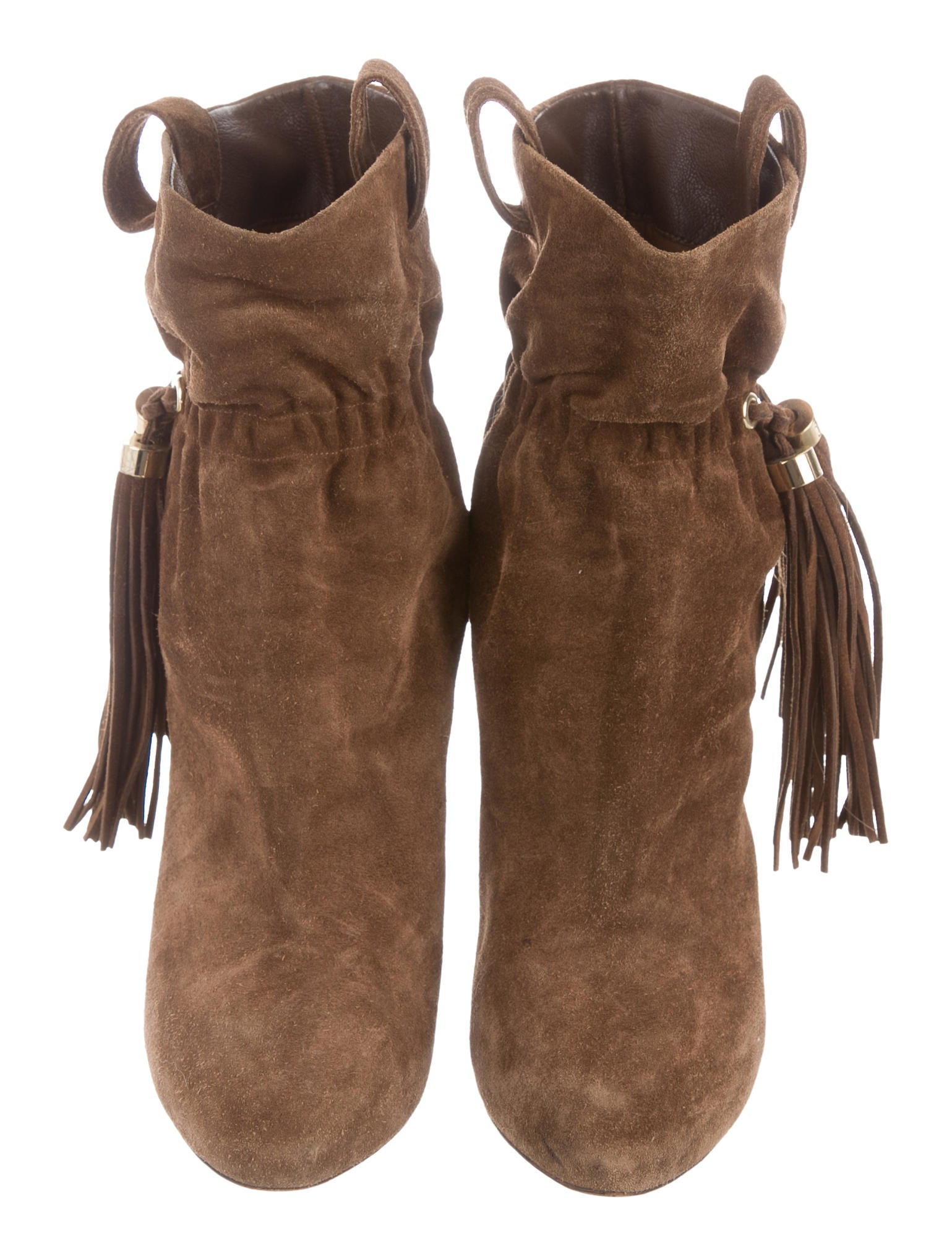 c 233 line suede tassel accented ankle boots shoes