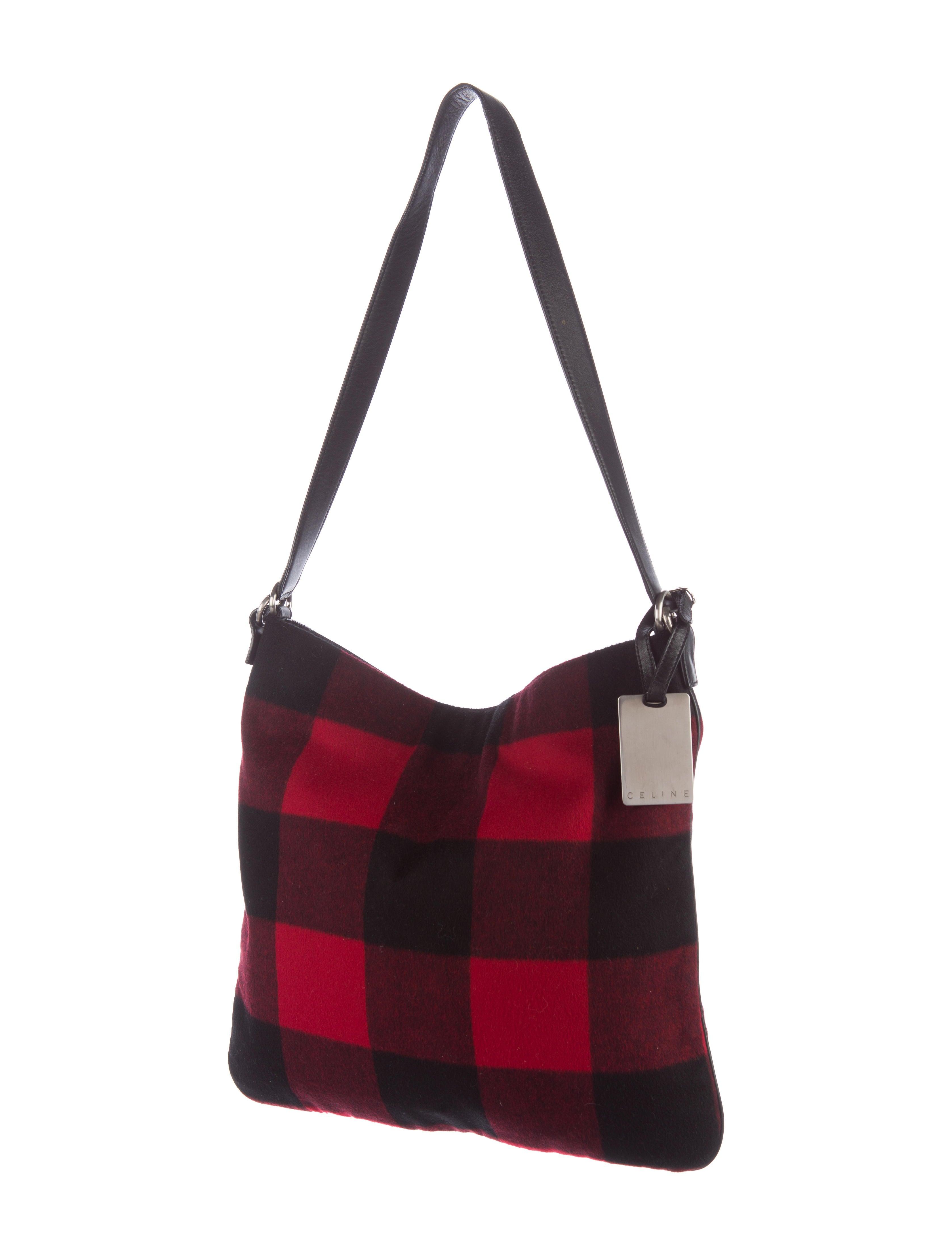 c233line plaid flannel shoulder bag handbags cel46358