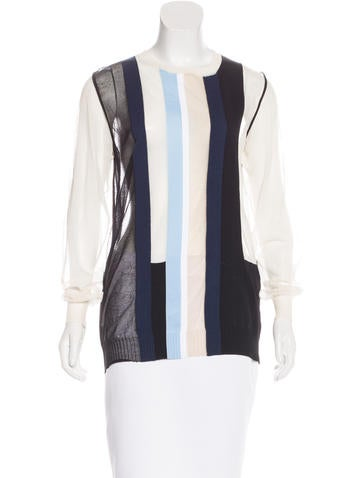 Céline Striped Semi-Sheer Sweater None