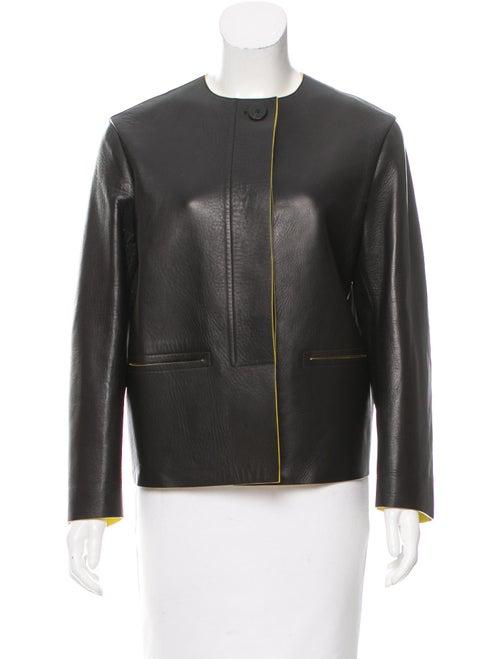 Céline Leather Collarless Jacket w/ Tags Black