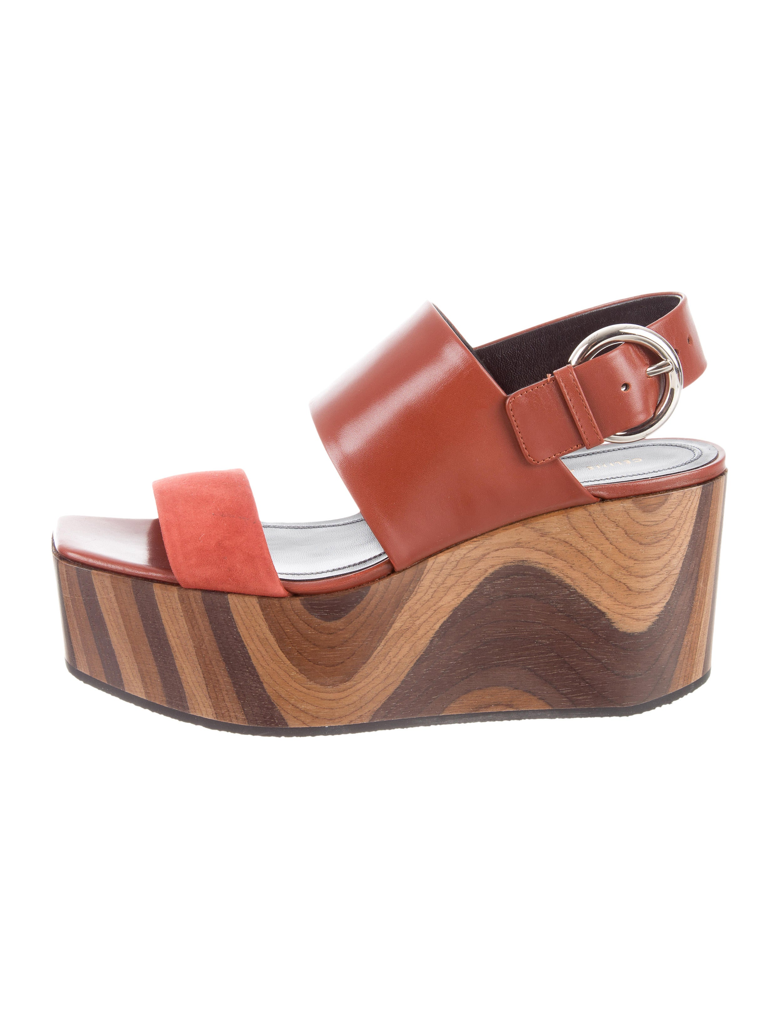 Céline Leather & Suede Wedge Sandals w/ Tags cheap sale 2014 new outlet wholesale price AcnjkKIFY