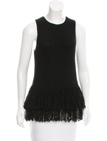 Céline Fringe-Trimmed Wool Top None