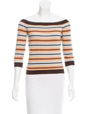 Céline Striped Rib Knit Top None
