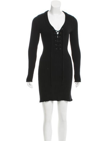 Céline Rib Knit Lace-Up Dress None