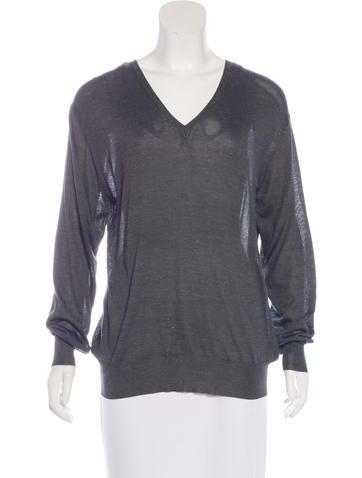 Céline Silk Metallic-Accented Sweater None