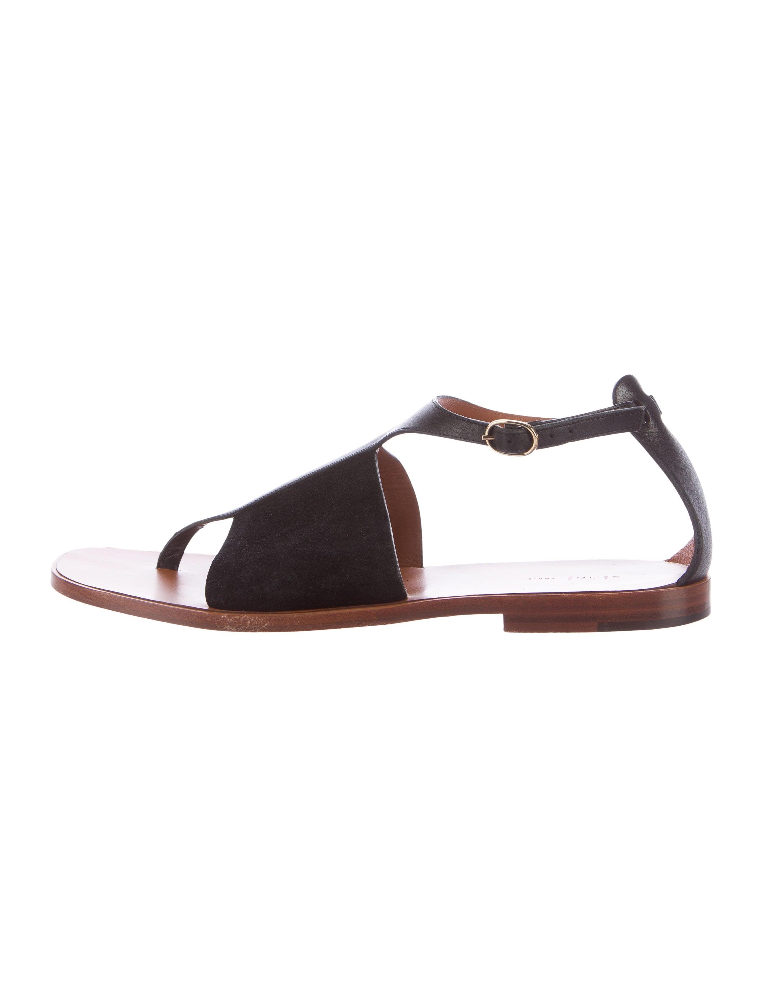 07d256f662f61c Céline Leather-Trimmed Thong Sandals - Shoes - CEL51225