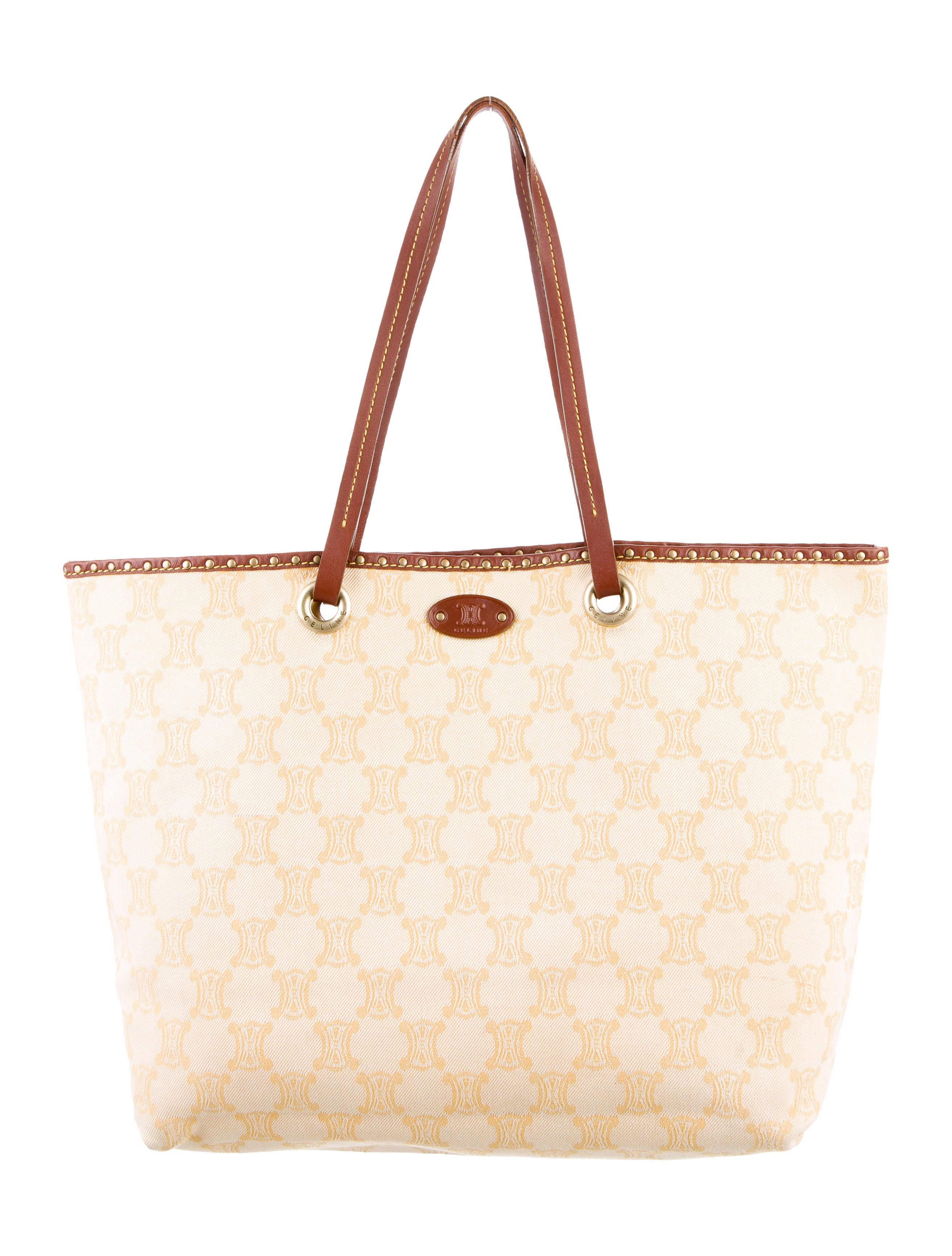 Céline Leather Trimmed Jacquard Tote - Handbags - CEL51653  08ea78c4af271