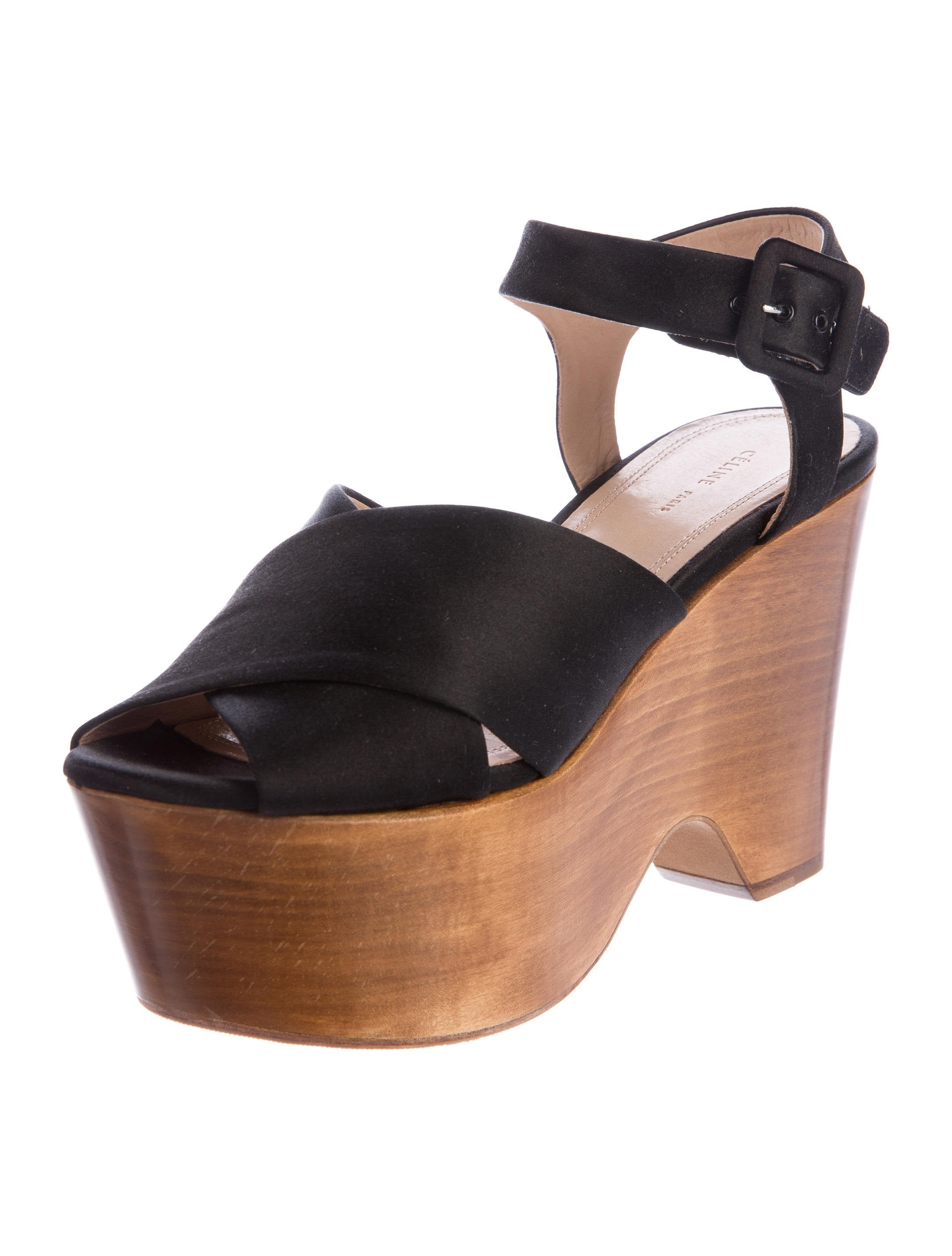 c 233 line satin wedge sandals shoes cel51892 the realreal
