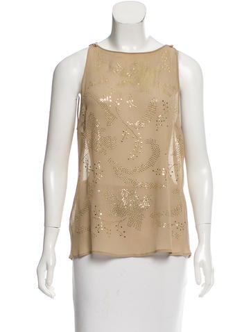 Céline Silk Embellished Top None