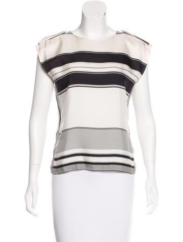 Céline Silk Striped Top None