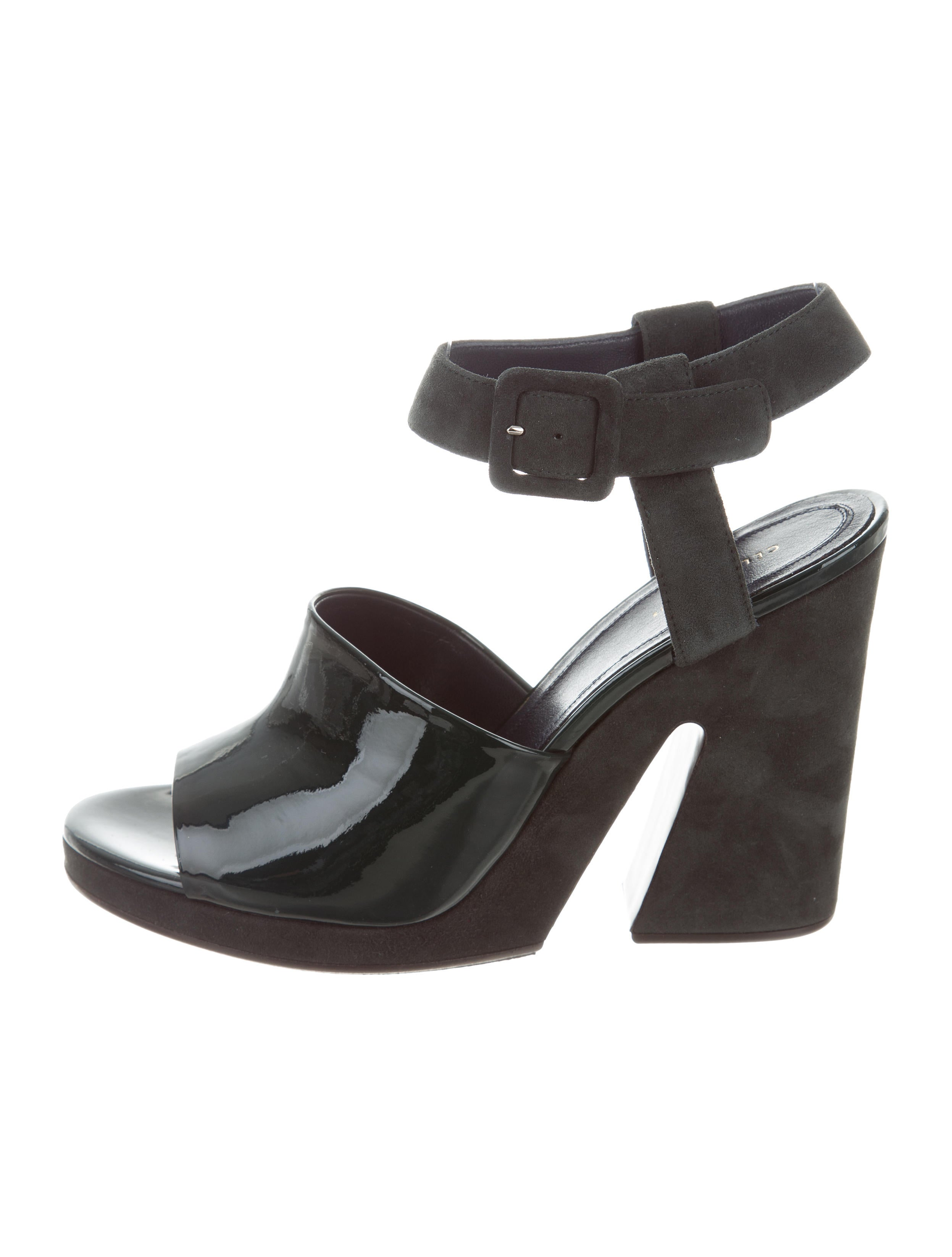 Céline Leather & Suede Wedge Sandals w/ Tags purchase cheap price discount fashionable Mq4Rt