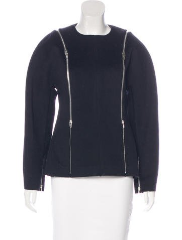 Céline Leather-Trimmed Wool Top w/ Tags None