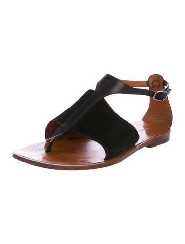 e4669aad54cf5b Céline Leather Thong Sandals - Shoes - CEL53662