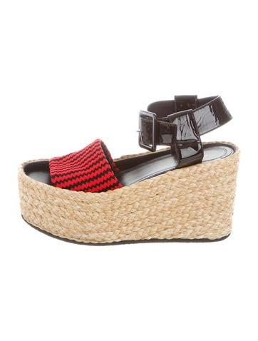 Céline Knit Ankle-Strap Wedges None