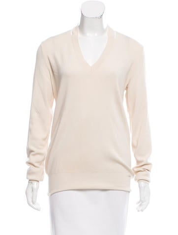 Céline Long Sleeve V-Neck Sweater None