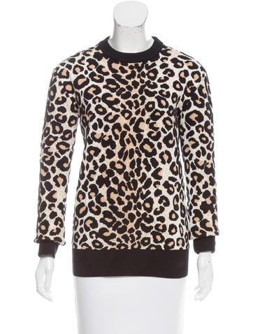 Céline Leopard-Patterned Jacquard Sweater None