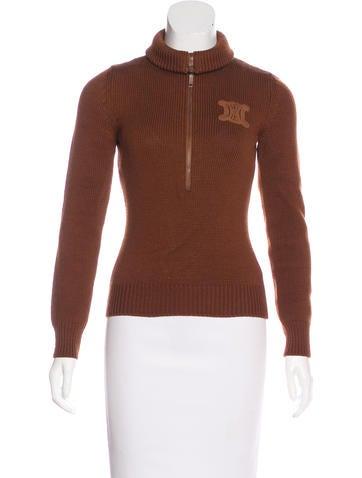 Céline Wool Zip-Up Sweater None