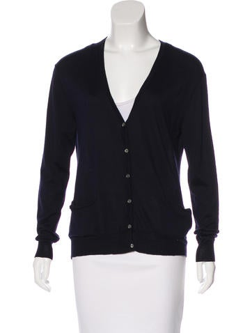 Céline Wool & Silk Long Sleeve Cardigan None