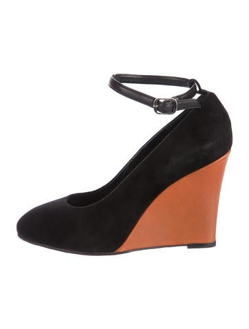 Céline Round-Toe Suede Wedges None
