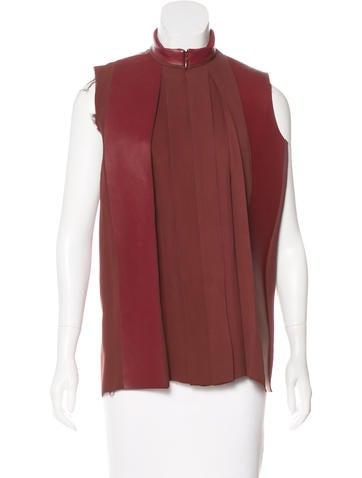 Céline Leather-Trimmed Silk Blouse None