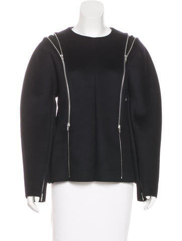 Céline Leather-Trimmed Wool Top None