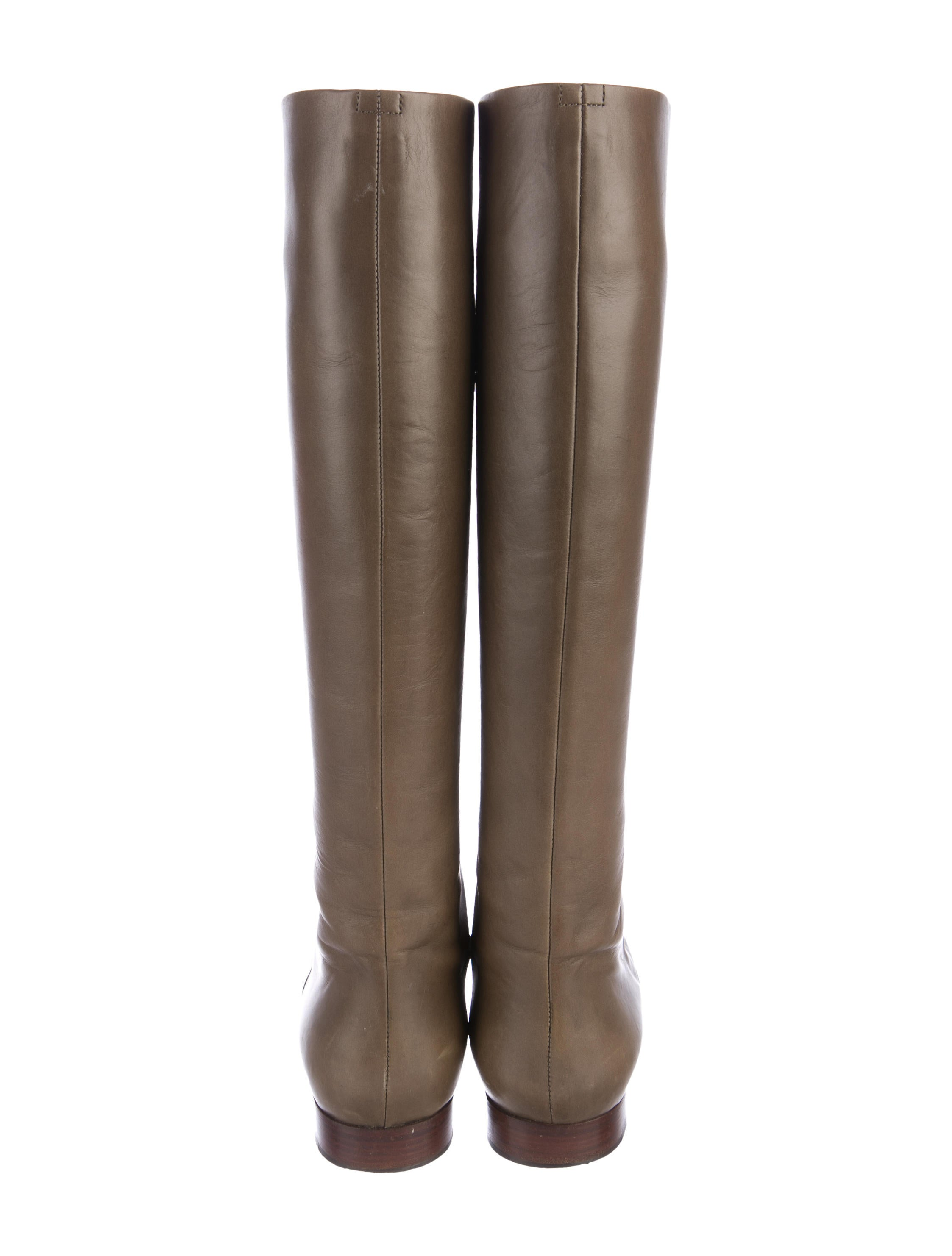 Céline Leather Round-Toe Knee-High Boots view online pay with paypal sale online jkmmu9B
