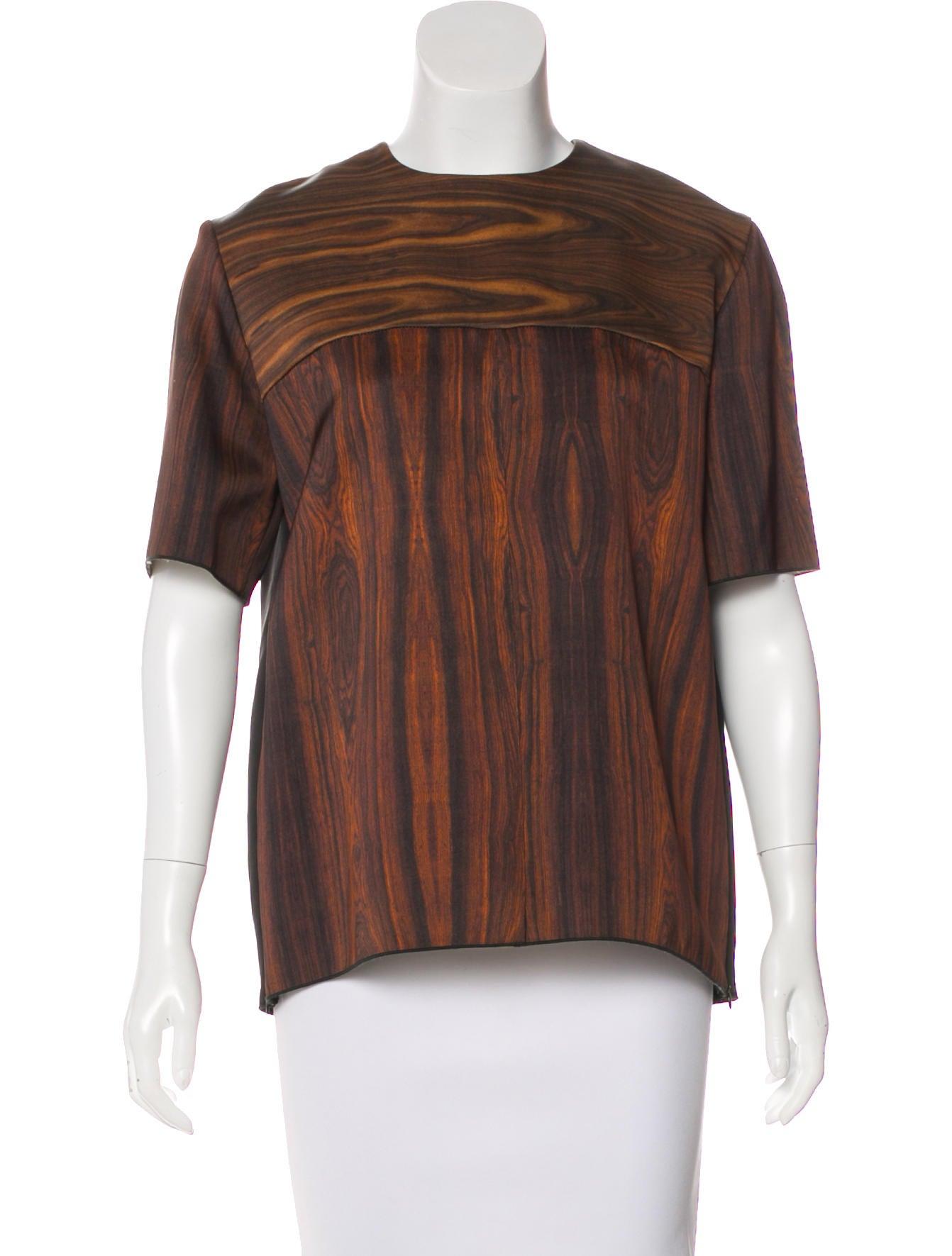 813f2555eee5 Celine Céline Silk Wood Grain Print Top - Clothing - CEL57727   The ...