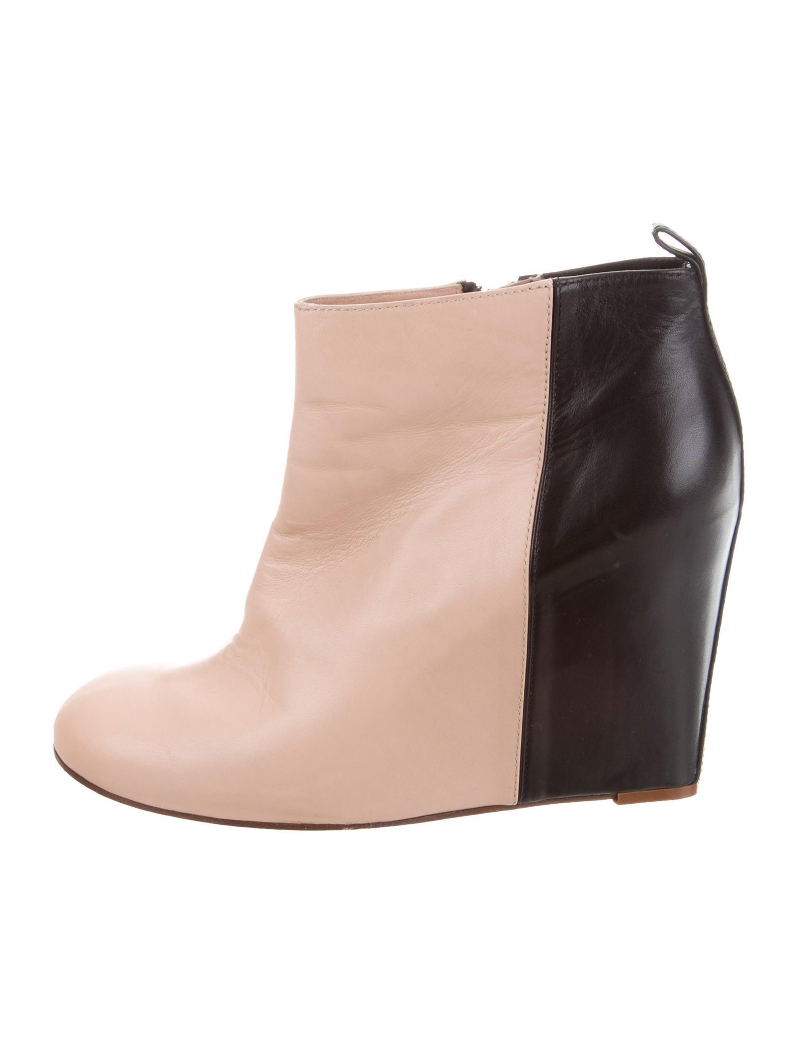 genuine cheap online Céline Leather Wedge Booties discount big sale discount store wKhFnT0udl