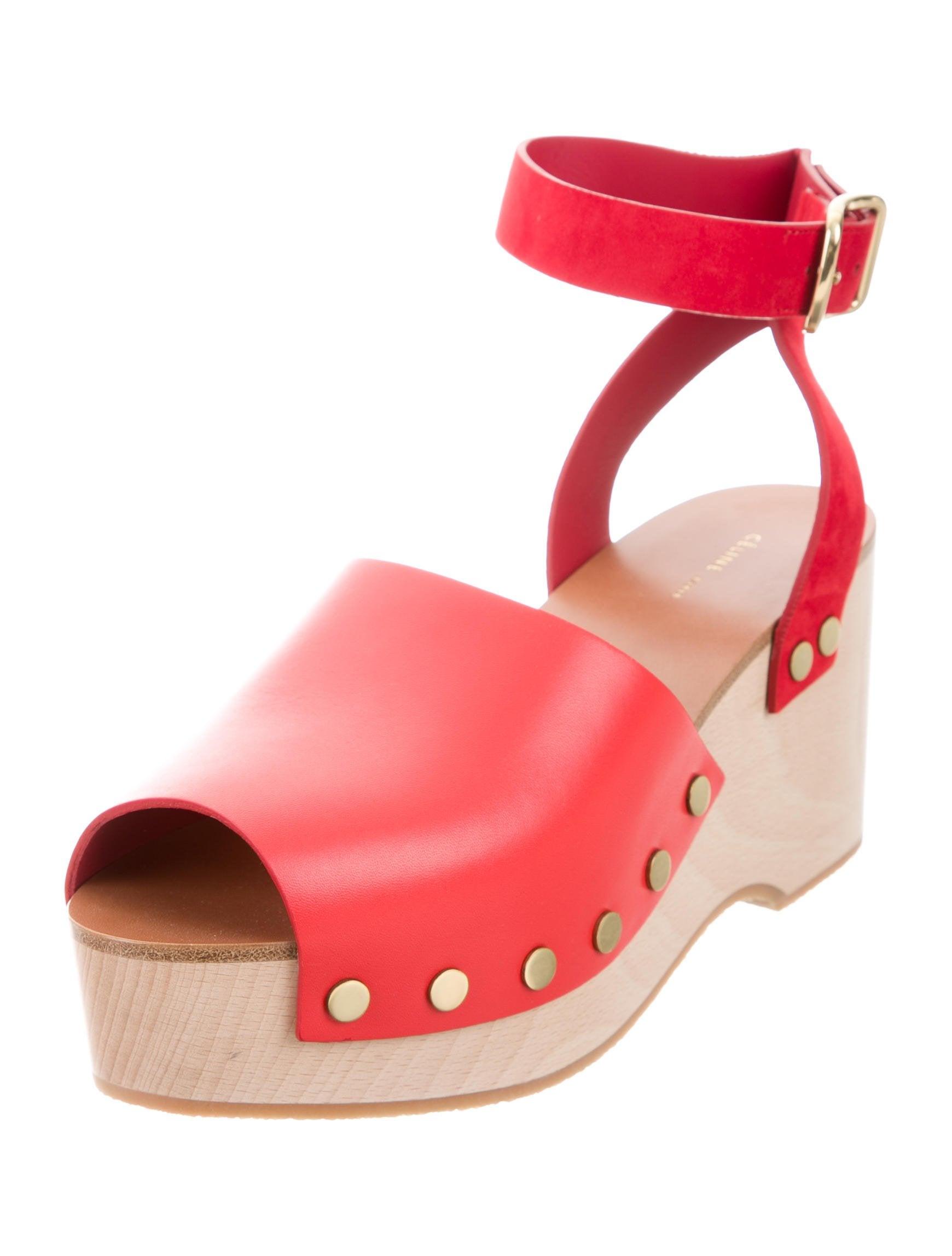 Céline Leather Platform Sandals w/ Tags shop sale online N39CBOu