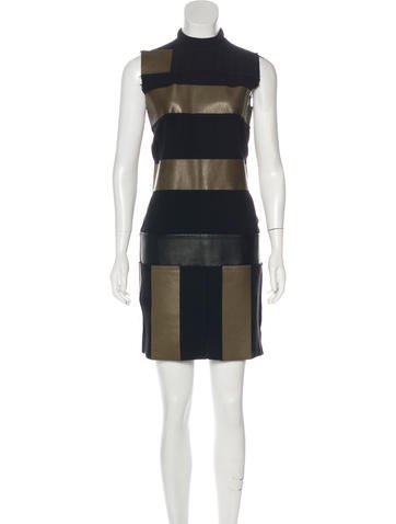 Céline Silk Leather-Paneled Dress w/ Tags None