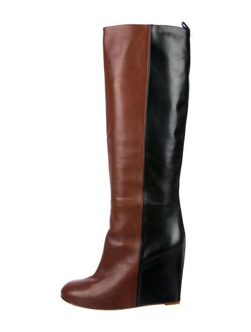 Céline Leather Wedge Boots None