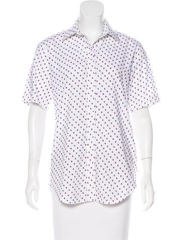 Céline Embroidered Button-Up Top None