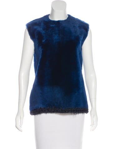 Céline Shearling Sleeveless Top None