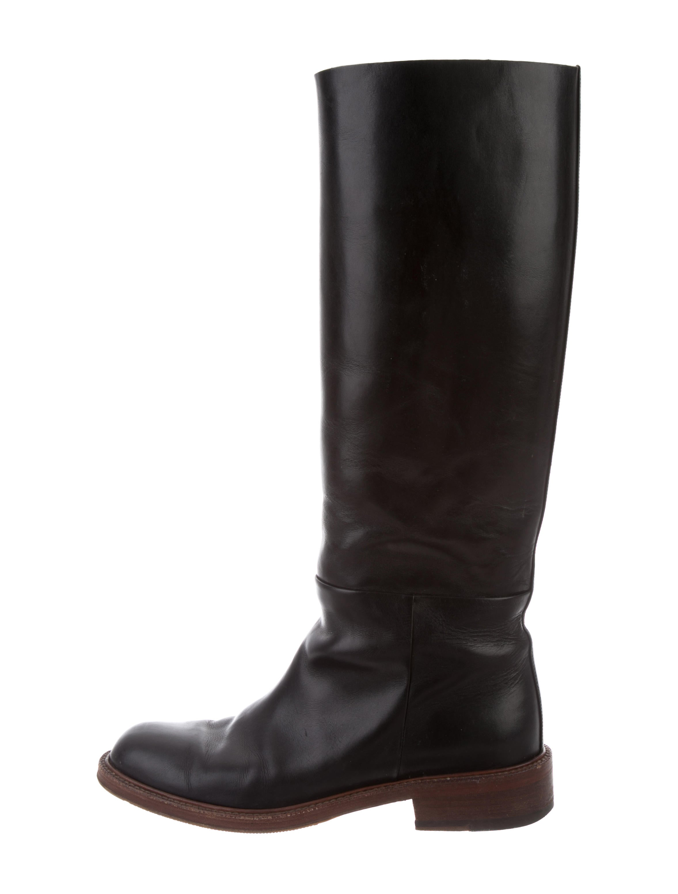 Céline Leather Knee-High Booties