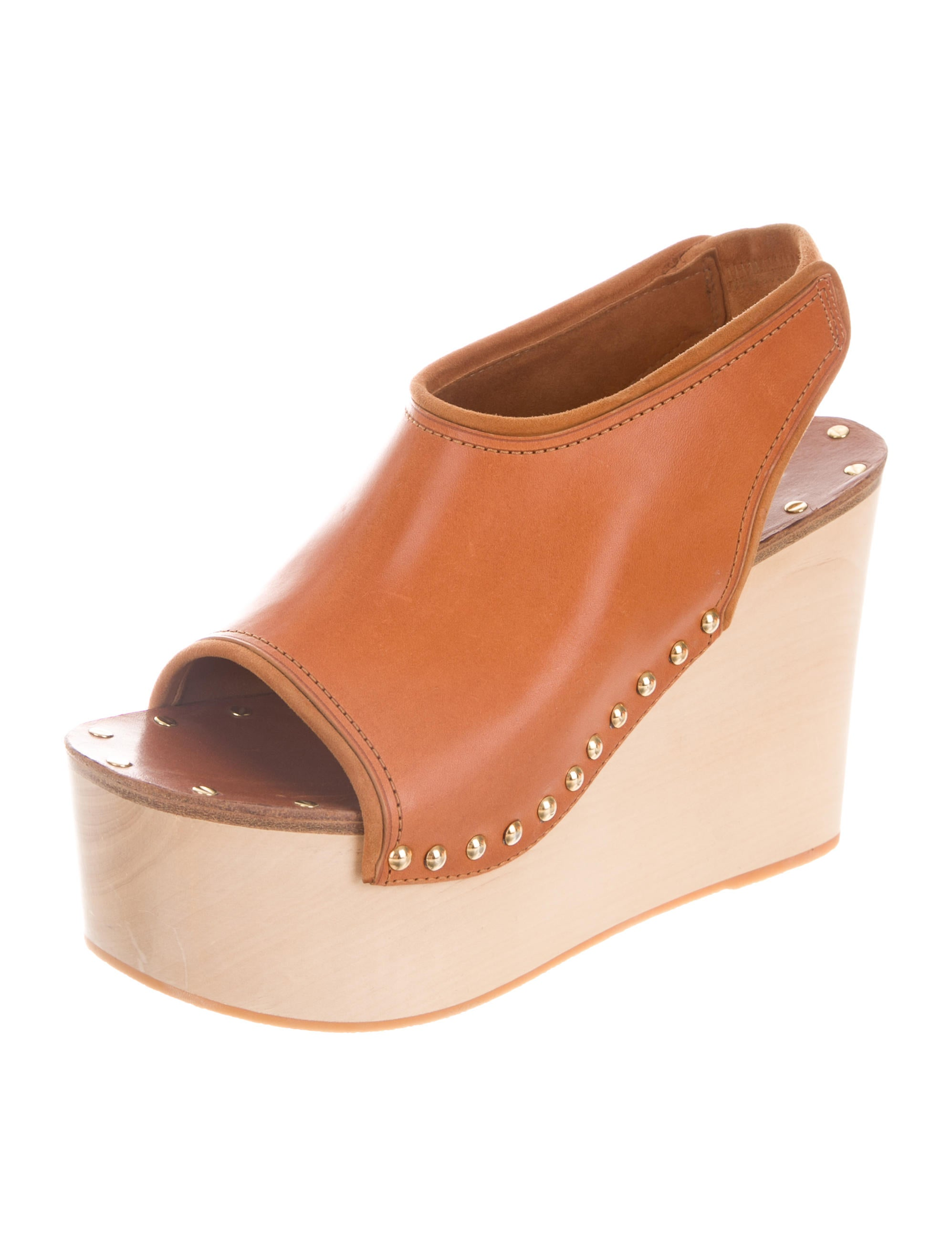 latest online discount buy Céline Leather Stud-Embellished Wedges reliable cheap price great deals cheap online cheap sale big discount LAQiwWM93