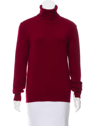 Céline Rib Knit Trimmed Turtleneck Sweater None