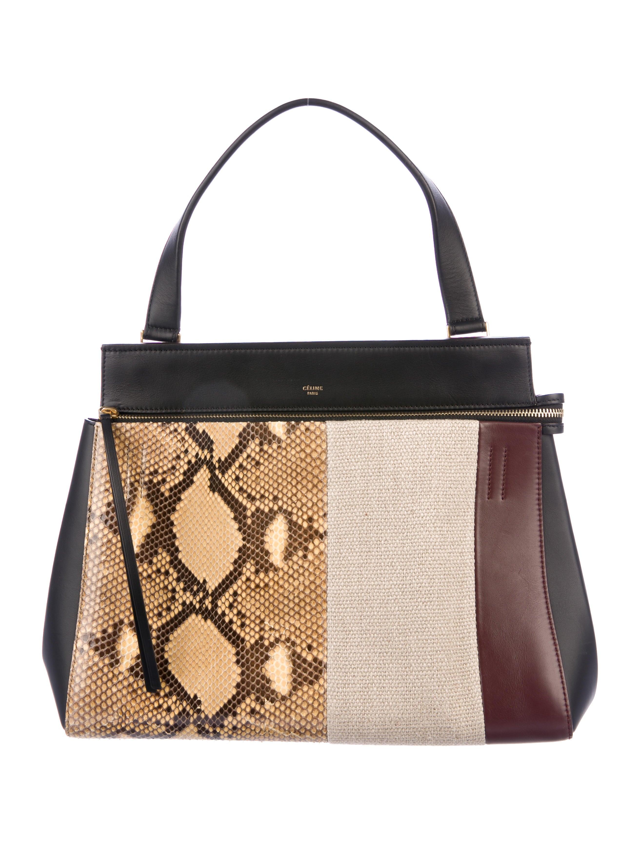 Céline Python Paneled Medium Edge Bag Handbags Cel63062 The Realreal