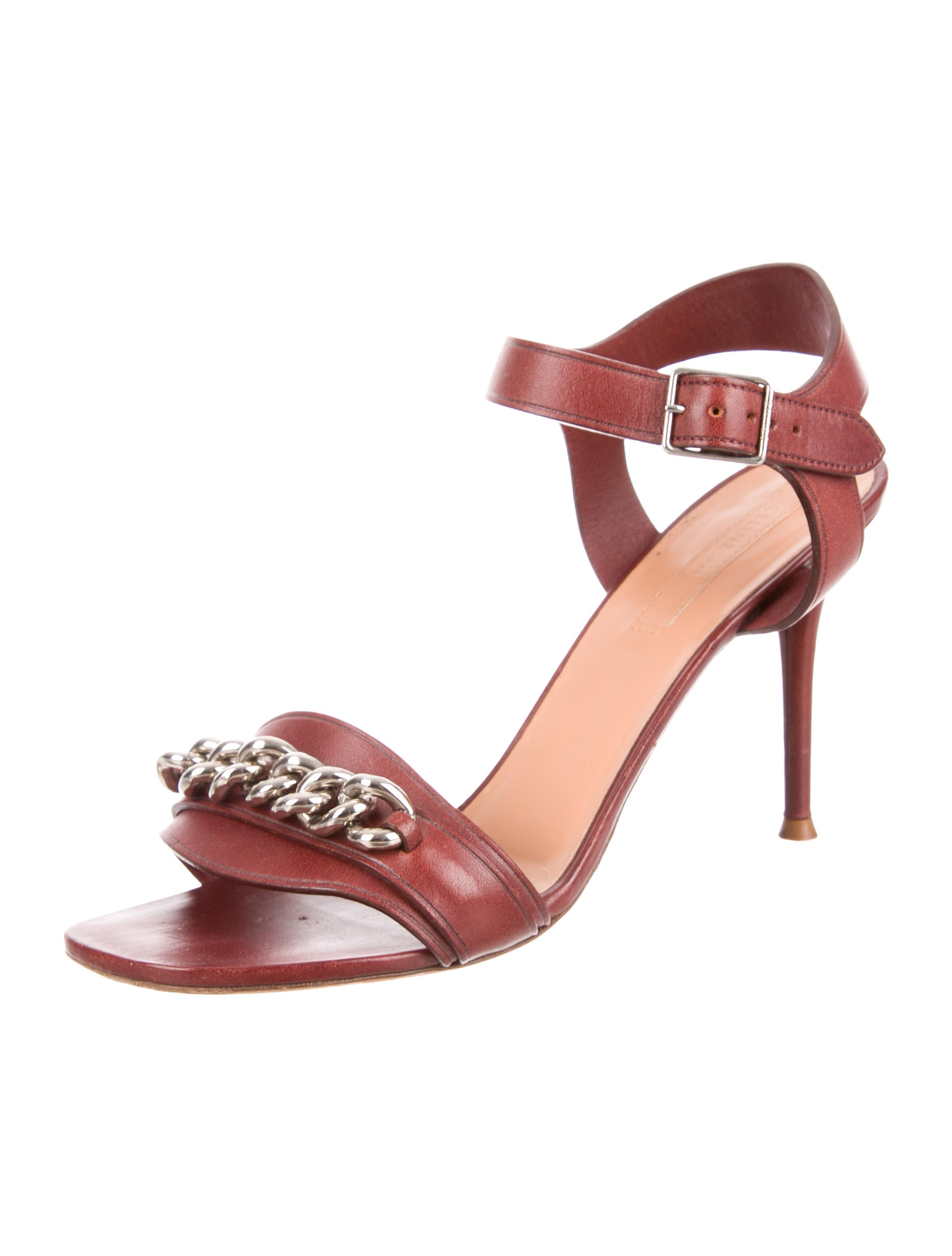 Céline Chain-Embellished Ankle Strap Sandals